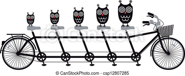 owls on tandem bicycle, vector - csp12807285