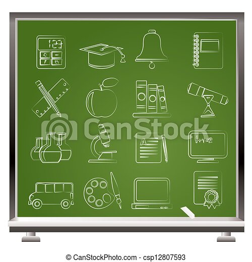 Education and school objects icons  - csp12807593