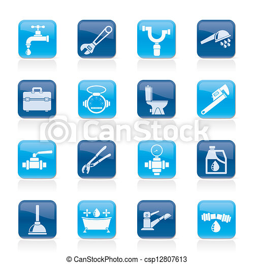 plumbing objects and tools icons - csp12807613
