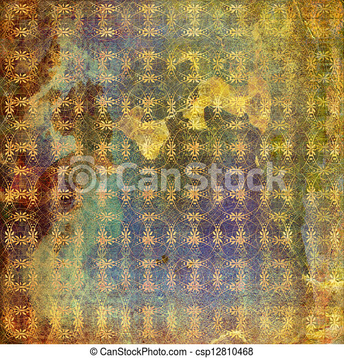 Grunge ancient used paper in scrapbooking style - csp12810468