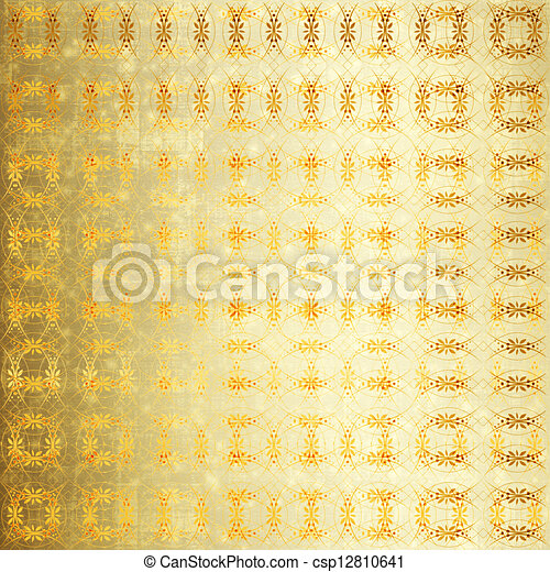 Abstract ancient background in scrapbooking style with gold ornamental  - csp12810641