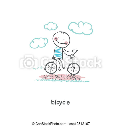 A man rides a bicycle. Illustration. - csp12812167