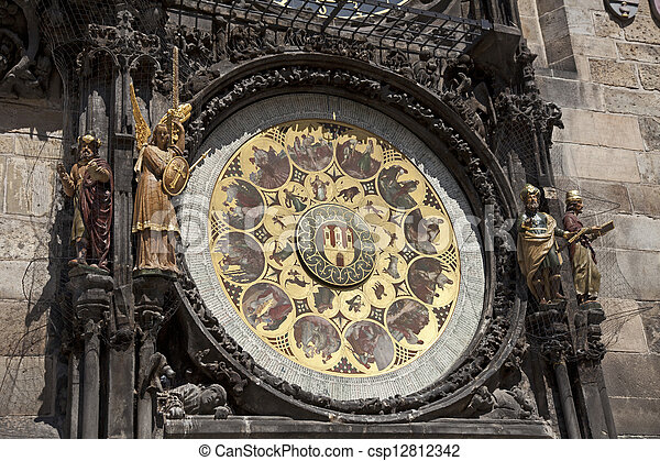 Prague - Historic Astronomical clock (Orloj) on the Old City Hall - csp12812342