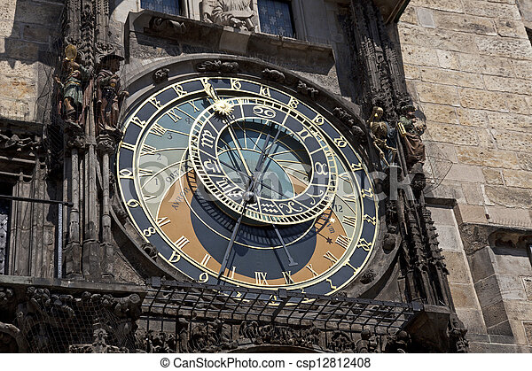 Prague - Historic Astronomical clock (Orloj) on the Old City Hall - csp12812408