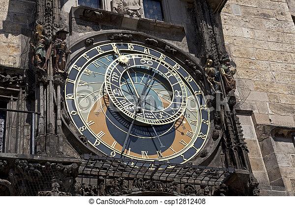 Prague - Historic Astronomical clock (Orloj) on the Old City Hall - csp12812408