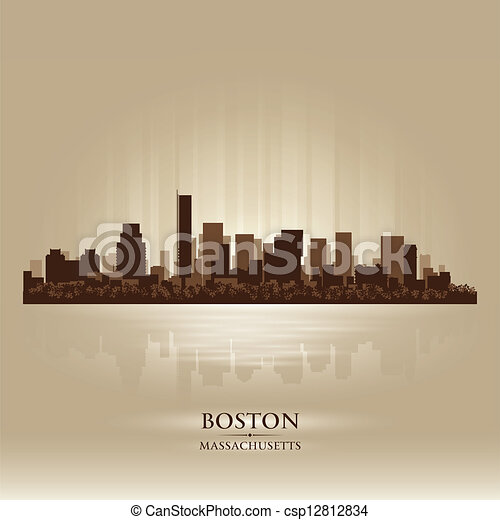 Boston, Massachusetts skyline city silhouette - csp12812834