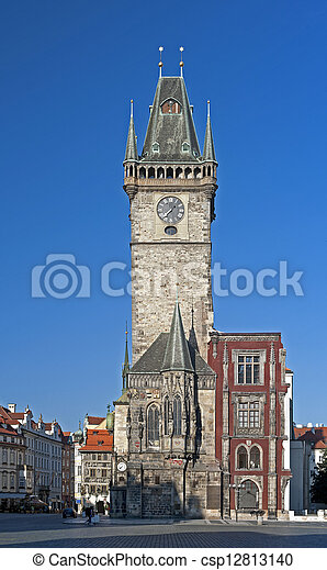 Prague - Historic Astronomical clock (Orloj) on the Old City Hall - csp12813140