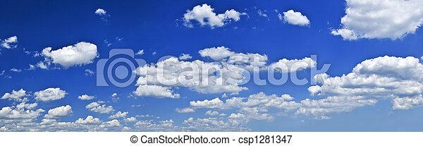 藍色, 天空, 白色, 云霧, 全景 - csp1281347