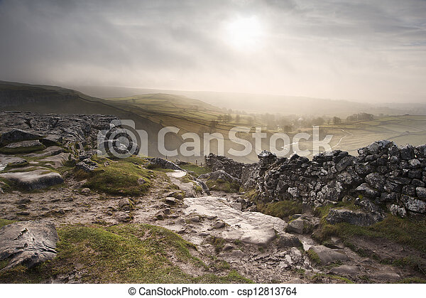 Sunrise over Malham Dale in Yorkshire Dales National Park - csp12813764