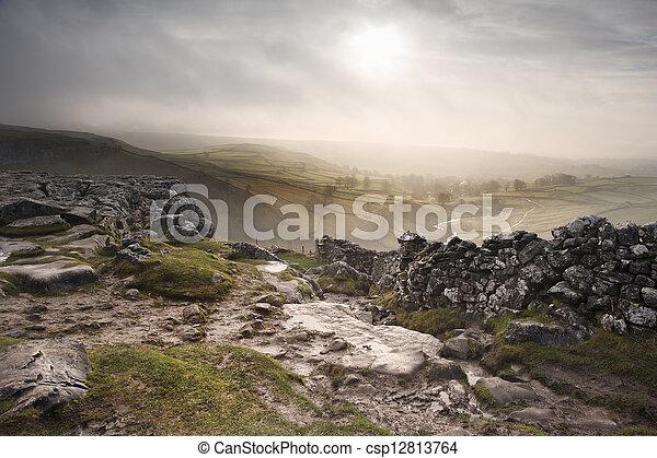 Sunrise over Malham Dale in Yorkshire Dales National Park - csp12813764