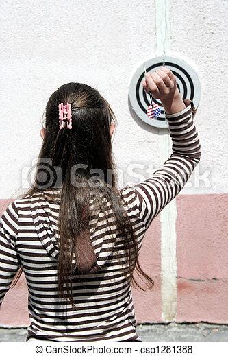 Girl  throws javelin - csp1281388