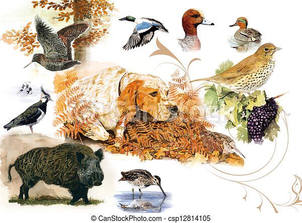 Illustration de sc ne chasse aquarelle originale - Dessin de chasse ...