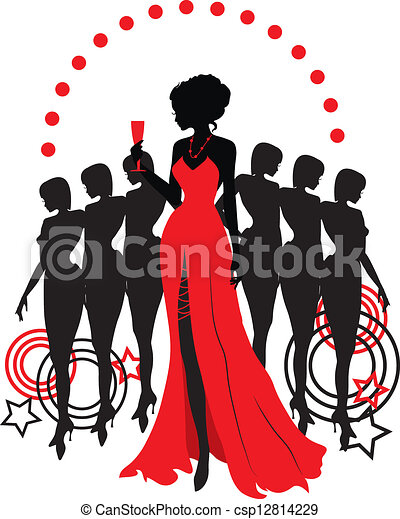 Women group graphic silhouettes. Different person - csp12814229