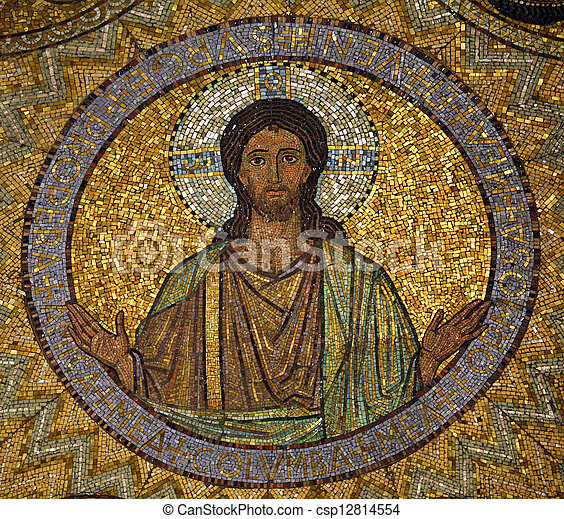 Jesus, mosaic, Jerusalem-The Church of Hagia Maria Zion-The Dormition Church - csp12814554