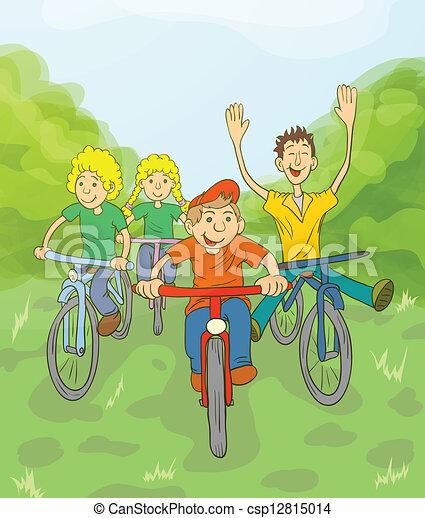 Children Ride Bike - csp12815014