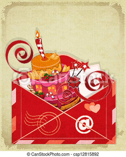 Birthday Cake Images For Email : EPS Vectors of Vintage birthday card with Chocolate Berry ...
