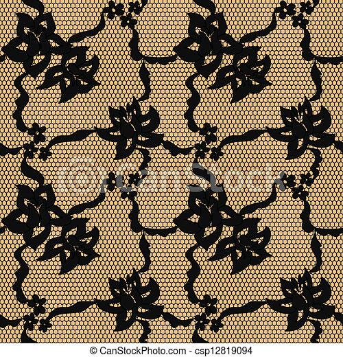 Black lace vector fabric seamless pattern - csp12819094