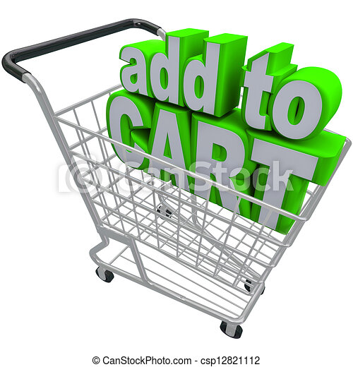 Clipart of Add to Card Words Shopping Pushcart e-Commerce Buy ...