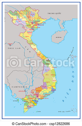 Vietnam map with detail of islands - csp12822686