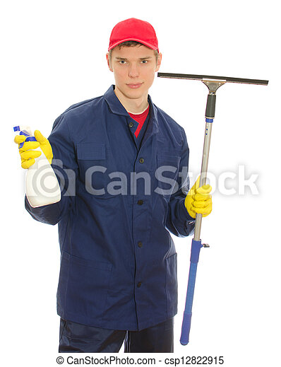 Young male window cleaner with tools. Isolated on white - csp12822915