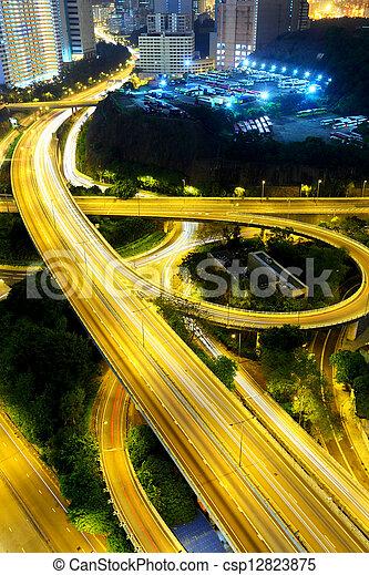 traffic city night - csp12823875