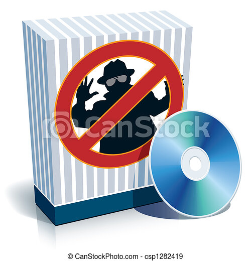 Box with anti-spy sign and CD - csp1282419
