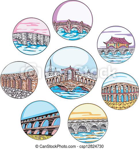 Dingbats with bridges and aqueducts - csp12824730