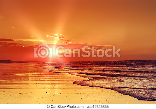 beach sunset - csp12825355