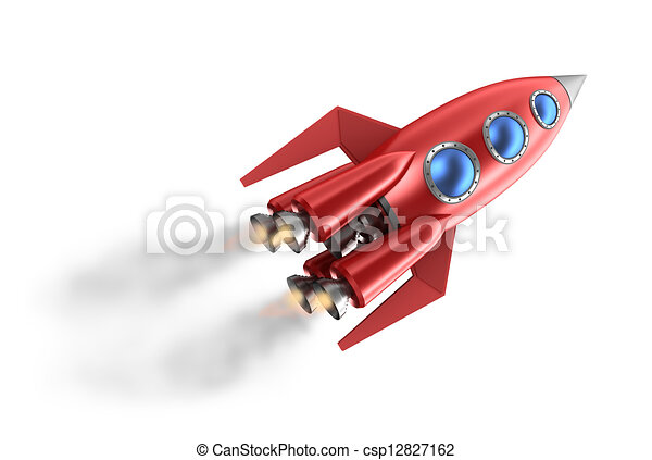 Retro style rocket. - csp12827162