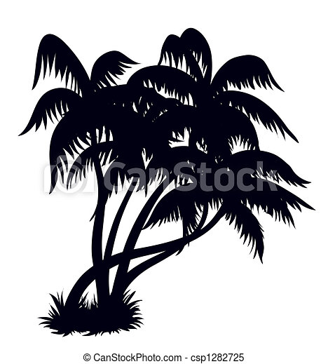 Palm trees silhouette 2 - csp1282725