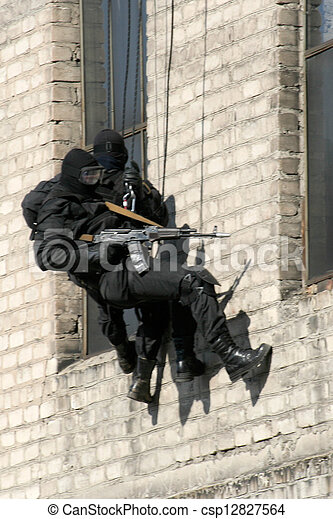 anti-terrorist police during a black tactical exercises