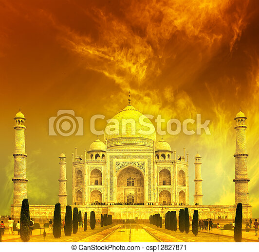 Taj Mahal Sunset, India - csp12827871