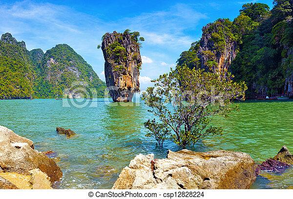 Thailand nature. James Bond island view tropical landscape - csp12828224