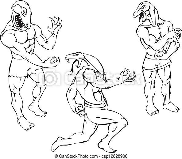 Vector Clip Art de Reptil, Mascotas, -, caimán, lagarto, cobra ...