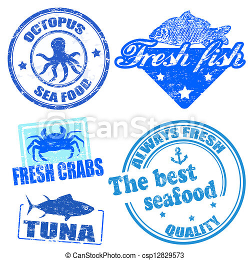 Set of sea food grunge rubber stamps - csp12829573