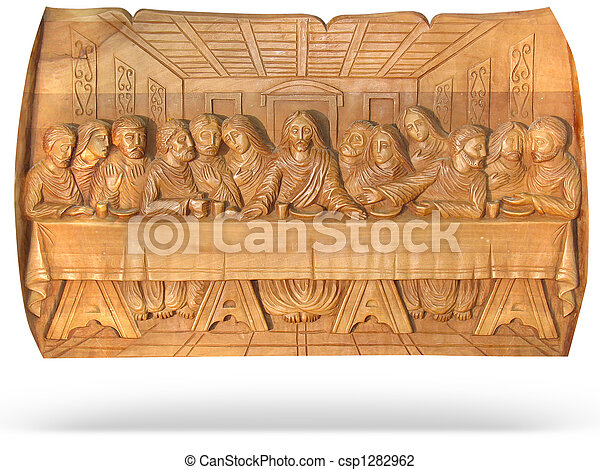 wooden Last Dinner religion bas-relief isolated over white background - csp1282962