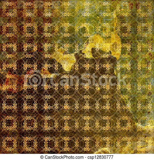 Grunge ancient used paper in scrapbooking style  - csp12830777