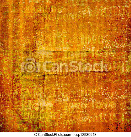 Grunge ancient used paper in scrapbooking style with text and hearts - csp12830943
