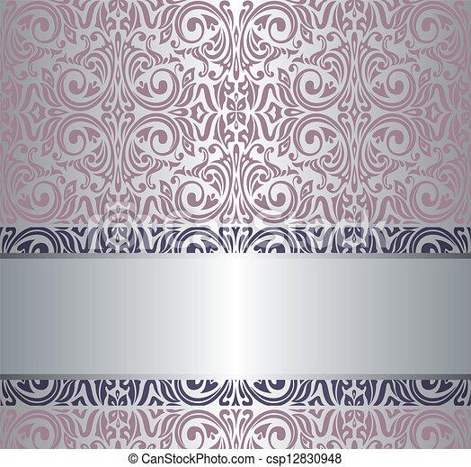 Eps vector de rosa vendimia papel pintado plata y - Papel pintado plateado ...