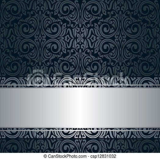 Vectores de vendimia papel pintado negro plata y for Papel pintado azul y plata