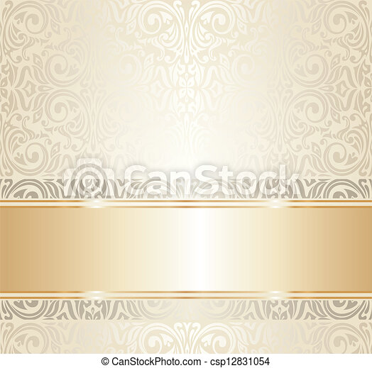 white and gold wedding  ivitation - csp12831054