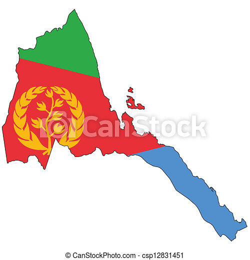 Stock Illustrations of Country outline with the flag of Eritrea in ...