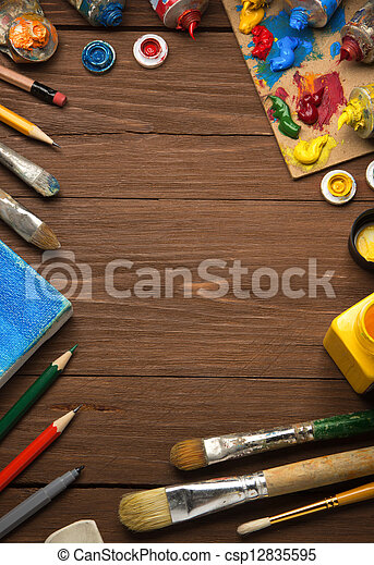 art concept and paint brush on wood