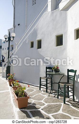 greek island street scene - csp1283728