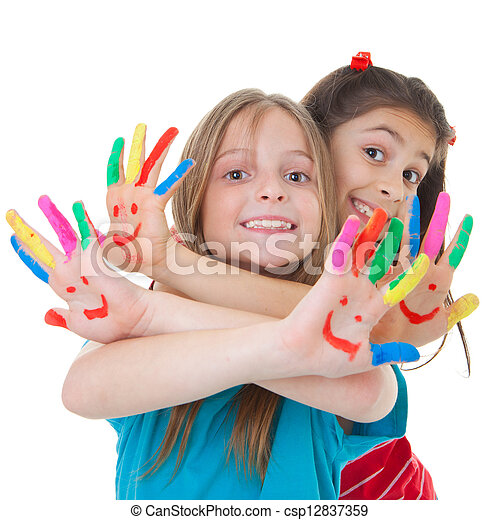children playing with paint - csp12837359