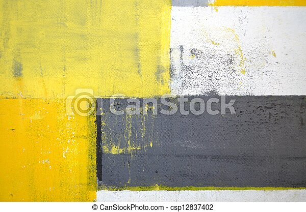 Grey and Yellow Abstract Art - csp12837402