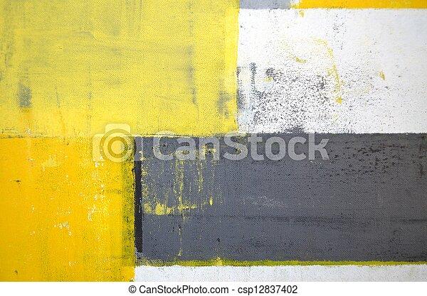 Grey and Yellow Abstract Art - csp12837402