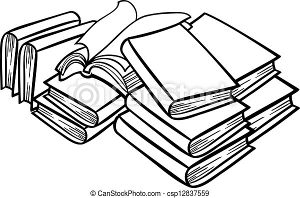 Bücherstapel clipart schwarz weiß  Clipart Vektor von buecher, haufen, karikatur, abbildung - Black ...