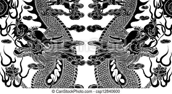Twin, 芸術, 中国語, ドラゴン - csp12840600