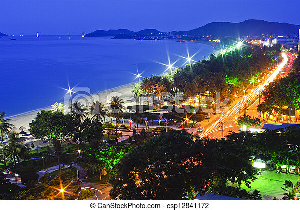trópicos, océano, escena, vietnam, natrang, pacífico, noche, vista, playa - csp12841172
